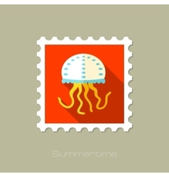 Jellyfish flat stamp with long shadow vector