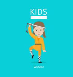 Kids martial arts wushu girl vector