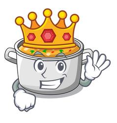 King cartoon homemade stew soup in the pot vector