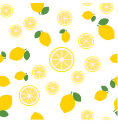 lemon slices seamless pattern on white background vector image