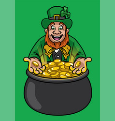 Leprechaun with with pot gold vector