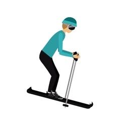male athlete practicing ski isolated icon design vector image