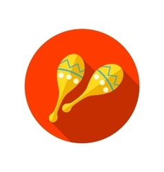 Maracas flat icon with long shadow vector image