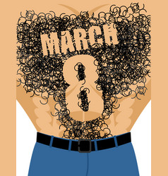 march 8 male torso with hair epilation number vector image