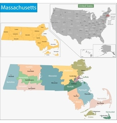 Massachusetts map vector image