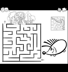 maze with hedgehog coloring page vector image