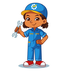 Mechanic girl holding wrench ready to fixing vector