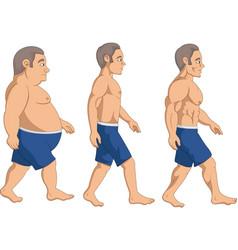 Men slimming stage progress vector