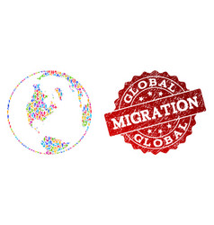 Migration composition mosaic global map of vector
