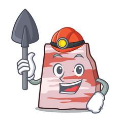 Miner pork lard mascot cartoon vector
