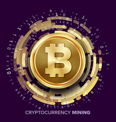 mining bitcoin cryptocurrency vector image