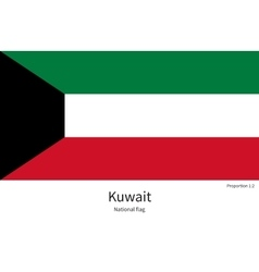 National flag of Kuwait with correct proportions vector