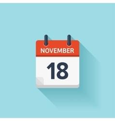 November 18 flat daily calendar icon vector image