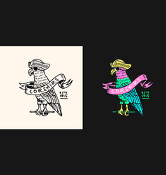 Pirate parrot with ribbon logo jolly roger vector