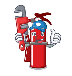 Plumber fire extinguisher mascot cartoon vector