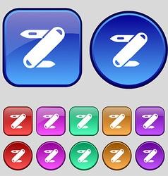 Pocket knife icon sign A set of twelve vintage vector