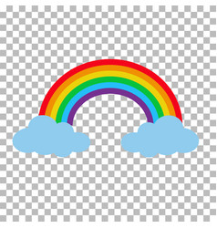 rainbow with clouds isolated on transparent vector image