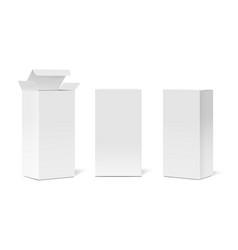 realistic cardboard boxes mockup set vector image