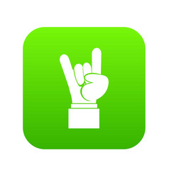 Rock and roll hand sign icon digital green vector