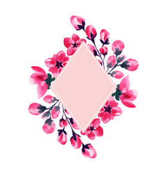 sakura flowers cherry blossom watercolor frame vector image