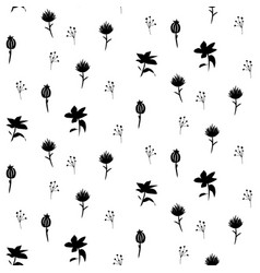 scandi plants seamless pattern in black and vector image