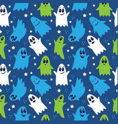 seamless pattern cute funny cartoon ghosts vector image