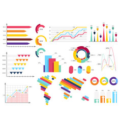 set elements of infographics info bars graphycs vector image