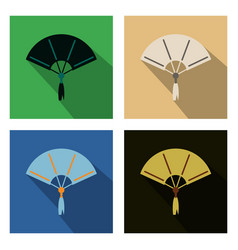 Set of chinese fan color flat icon for web and vector