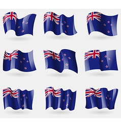 Set of New Zeland flags in the air vector image