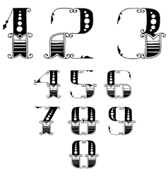 set of numbers in vintage style vector image