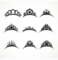 Set silhouettes tiaras various shapes vector