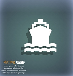 ship icon symbol on the blue-green abstract vector image