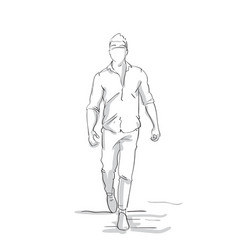 Silhouette business man making step forward sketch vector