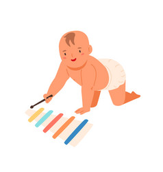 Smiling toddler playing on wooden xylophone vector