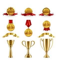 sport or game trophy set gold reward vector image