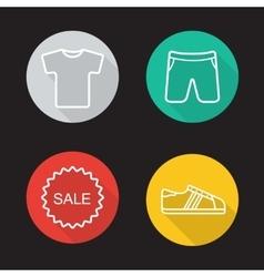Sportwear flat linear icons set vector image