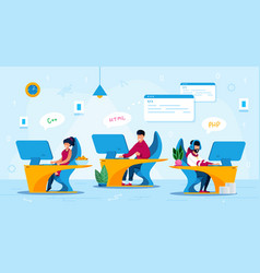Startup programmers team work flat concept vector