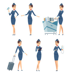 stewardess woman hostess professional blue vector image