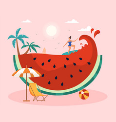 summer scene with female character surfing against vector image