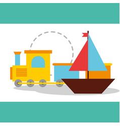toys sailboat and train wagon vector image
