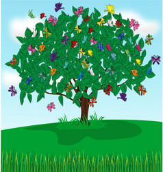 tree butterflies vector image