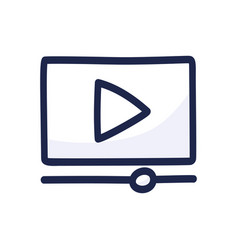 video player play button simple outline color vector image