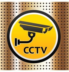 Video surveillance symbol on a golden background vector