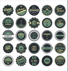 vintage labels blue set vector image