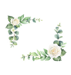 watercolor hand painted wreath with green vector image