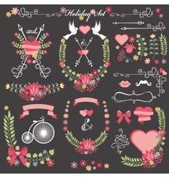 Wedding card floral Decor toolkit Wreathheart vector