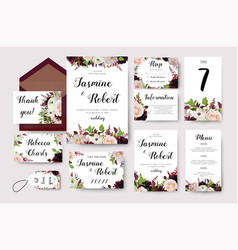 Wedding invitation flower invite card design vector