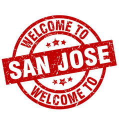 Welcome to san jose red stamp vector