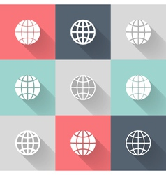 White globe icon set vector image
