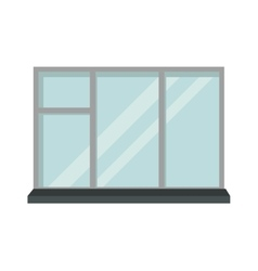 Window open interior frame glass construction vector image